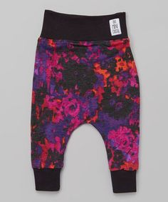 Look at this #zulilyfind! theMINIclassy Black Purple Haze Cropped Harem Pants - Infant, Toddler & Girls by theMINIclassy #zulilyfinds