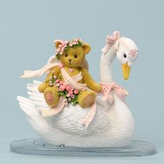 Cherished Teddies Bear Sitting on Swan Friendship Is Afloat Figurine 4036068 #CherrishedTeddies