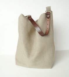 Linen Burlap Hobo Bag Slouchy Box Tote Fall by JuneberryStitches, $58.00