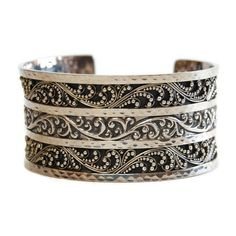 Lois Hill Cuff Bracelet Vintage Boho Style Sterling Filigree Scroll... ($325) ❤ liked on Polyvore featuring jewelry, bracelets, silver bangles, vintage silver bangle, vintage cuff bracelet, silver cuff bangle and filigree cuff bracelet