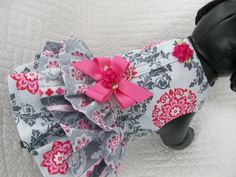 Dog Dress with three ruffles and built in harness by graciespawprints on Etsy https://www.etsy.com/listing/174126911/dog-dress-with-three-ruffles-and-built