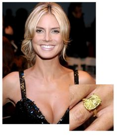 Heidi Klum sports a gorgeous yellow diamond, also called a Canary diamond, which is the most popular of the fancy colored diamonds Sports Illustrated, Fashion Weeks, Heidi Klum Hair, Celebrity Smiles, Celebrity Crush, Pink Diamond Engagement Ring, 10 Most Beautiful Women, Beautiful People, Victoria's Secret