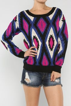Ethnic Acrylic Sweater #wholesale #clothing #pink #fashion #fall #October #love #ootd #wiwt #shorts #skirts #dresses #tanks #jeans #denim #tops #outerwear