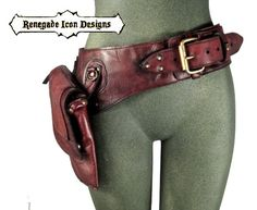 leather hip bag, thigh bag, hip belt, utility belt, holster belt, festival belt by Renegade Icon designs