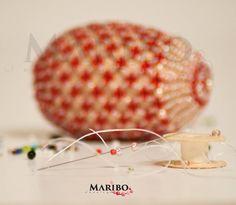 beautiful beaded handmade Easter Eggs, from Toho beads and Swarovski #beadedEasterEggs #MARIBOJewelry #EasterEggs
