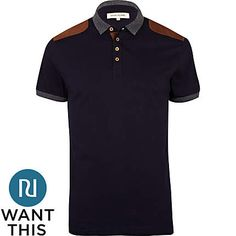 Navy corduroy shoulder patch polo shirt - polo shirts - t-shirts / vests - men