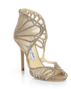 Jimmy Choo Kole Crystallized Suede & Mesh Sandals, $1,595; saksfifthavenue.com.