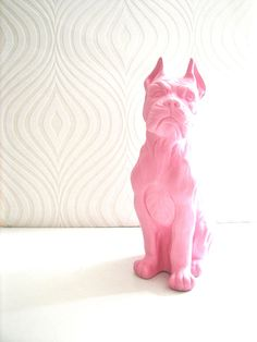 Boxer Dog Statue in light pink  Home Decor Table by mahzerandvee, $50.00