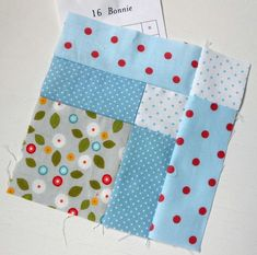Farmer's Wife 1930s Block 16 - Bonnie. Simple patchwork using scraps. For my daisies and dots.