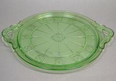 Vintage Jeannette Depression Glass Doric Pattern Green Double Handled Cake Plate