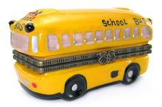 """Yellow School Bus""  Porcelain Hinged Trinket Box - Hand-Painted"