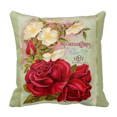 Shop Vintage 1897 Cabbage Rose Seed Catalogue Throw Pillow created by ArtStudioPillows. Custom Pillows, Decorative Throw Pillows, Vintage Seed Packets, Floral Throws, Seed Catalogs, Cabbage Roses, Retro Floral, Flower Seeds, Designer Throw Pillows