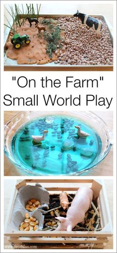 Create a farm small world scene using sensory materials to encourage sensory exploration, imaginative play, language development, and more! Most kids love small world play, and this is a great suggestion. Farm Activities, Animal Activities, Preschool Activities, Preschool Farm, The Farm, Sensory Bins, Sensory Play, Sensory Table, Farm Sensory Bin