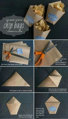 Paper DIY Snack Bags for Summer Parties is part of Diy snack bag - Make these adorable DIY snack bags from kraft paper to hold your chips or other party treats Great for little fingers to hold their goodies as they eat! Diy Kraft Bags, Kraft Paper Wedding, Papier Diy, Diy Snacks, Snacks Ideas, Diy And Crafts, Paper Crafts, Chip Bags, Snack Bags