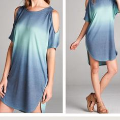 Cold Shoulder Ombré Tunic T Shirt Dress NWOT This tunic dress is FABULOUS! SOLD OUT EVERYWHERE! Limited Availability! These will go FAST!  Color is MINT  Chambray. Comes in Pink Peach/Fuschia and Grey as well. Pleated Maxi Tunic Dress. Crochet. Embellished cold shoulders. Gingham Stripes. Marled. Cable knit. Shirt dress. Pastel eyelet lilac Oversized slouchy sweater. Sheath Emerald Marled Knit FashionBohoLoco Tops Tees - Short Sleeve