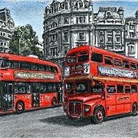 The old and new Routemaster buses - Drawings - Originals, prints and limited editions