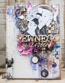 Mixedmedia industrial canvas with Lindy's Stamp Gang mists