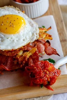 Potato Rösti, Bacon & Egg stacks with Tomato relish | Simply Delicious
