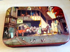 Vintage Blue bird toffee tin.Coach & horses picture./storage tin/ metal Box by trevoranna on Etsy