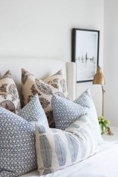 Neutral and Blue Boho Chic Bedroom by House of Jade Interiors