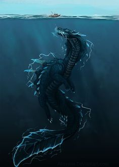 Water dragon thing from monster hunter Monster Hunter Art, Monster Art, Mythical Creatures Art, Mythological Creatures, Magical Creatures, Water Dragon, Sea Dragon, Creature Concept Art, Creature Design