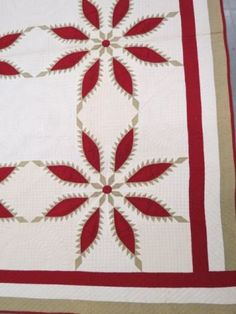 "Detail, Antique Handmade Quilt, red and olive floral with checkerboard and plume quilting, 81"" X 85"", Richard D. Hatch & Associates, Live Auctioneers"
