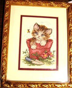 Kitten JCA Counted Cross Stitch Curious Kitten Kit 14 Completed 5 x 7 cat framed #JCA