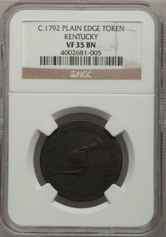 C. 1792 Kentucky Token NGC VF35 - Plain Edge. Finger Lakes Numismatics
