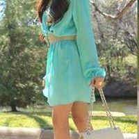 Love Aqua Wrap Dress- Love Long Sleeve Wrap Dresses- Love Dresses- $64.99