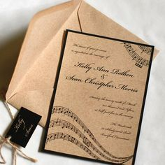 Music Wedding Invitation — Perfect for a rustic and music inspired wedding or event. The invitation features music notes along the top and