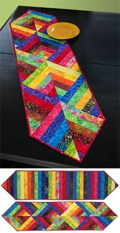 Colorful Triple 4-Patch Reversible Patchwork Table Runner