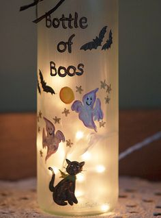 Pre-Order Halloween Bats Lighted Wine Bottle Hand Painted Bottle of Boos Spooky Ghosts Black Cat Night Light Frosted Glass Accent Lamp