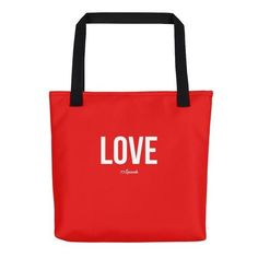 """"""" Love"""" Tote bag ($35) ❤ liked on Polyvore featuring bags, handbags, tote bags, red tote bag, tote handbags, red tote, handbags tote bags and tote purses"""