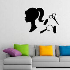 Wall Decal Beauty Salon Decals Girl Hair Scissors Curler Vinyl Sticker MA106