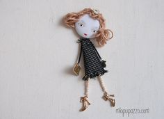 Fashion Girl Art doll brooch Personalized gift for by miopupazzo