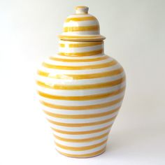 Yellow Striped Tibor : Emilia Ceramics