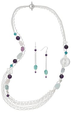 Multi-Strand Necklace and Earring Set with Sterling Silver Chain and Gemstone Beads - Fire Mountain Gems and Beads