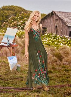 Walk In Beauty Dress - floral, embroidered mesh maxi dress.