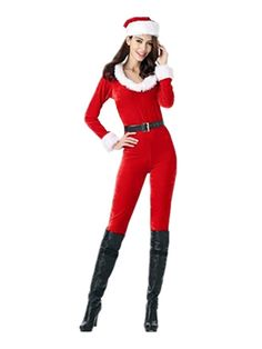 fe845bffc4a Leright Women s Santa Clause Costume Jumpsuit  Christmas Fantasy  Holiday Costume  Santa Clause