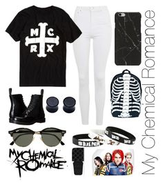"""""""My Chemical Romance Merchandise"""" by laurenholms ❤ liked on Polyvore featuring Topshop, Dr. Martens, Comeco, Ray-Ban and Gucci"""