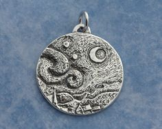 Starry Night Sterling Silver Pendant – Sterling Silver Jewelry – Van Gogh Starry Night Moon Pendant Sterling Pendant – Starry Night Pendant by Calieri on Etsy https://www.etsy.com/listing/256094880/starry-night-sterling-silver-pendant