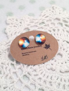 Stud Earrings - Galaxy The Big Bang Whimsical - Glass Cabochon by ChloeFaerieJewellery on Etsy