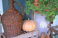 Autumn Front Porch!!! Bebe'!!! Fall vignette!!! Love the ivy topiary!!!