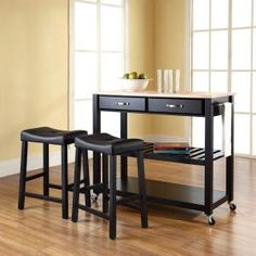 Crosley, 42 in. Natural Wood Top Kitchen Island Cart with Two 24 in. Upholstered Stools in Black, KF300514BK at The Home Depot - Mobile