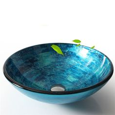 彩色上絵洗面ボウル 洗面台 手洗い器 排水金具付 青色 HAM152