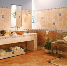 Koupelny Red Tiles, Tile Design, Double Vanity, Wall Mount, Wall Lights, Wall Decor, Flooring, Ceramics, Mirror