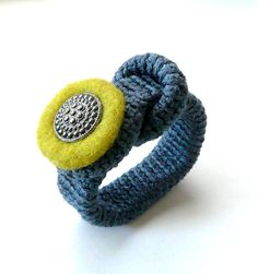 Crochet bracelet  grey sandy with button textile felted jewelry wool  handmade Birthday olive spring autumn Europe gift for her Mother