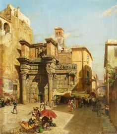 Carl Wuttke (1849-1927) - The Temple of Minerva in Rome.  1887.