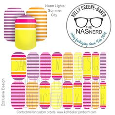 Neon Lights, Summer City inspired~ Get the Look without the polish! Contact me @ Kelly GB/The NAS Nerd on Facebook or email me bluegodiva@gmail.com if interested in designing/ordering a custom nail art studio sheet of your own . Curious about Jamberry's 350+ ready-to-go catalog wrap designs, lacquer or gel enamels? Head to kellybaker.jamberry.com ~ DIY nail art, purple, pink, orange, yellow, stripes, bold, bright Jamberry Lacquer, Jamberry Nails, Nail Art Diy, Diy Nails, Yellow Stripes, Orange Yellow, Nail Art Studio, Colorful Nail, Hand Care