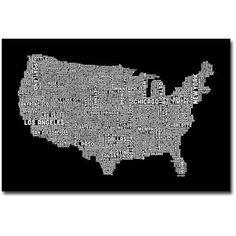 Trademark Art US City Map Canvas Wall Art by Michael Tompsett, Size: 16 x 24, Multicolor